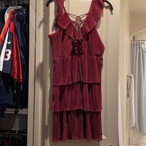 Maroon sparkle dress with adorable details!